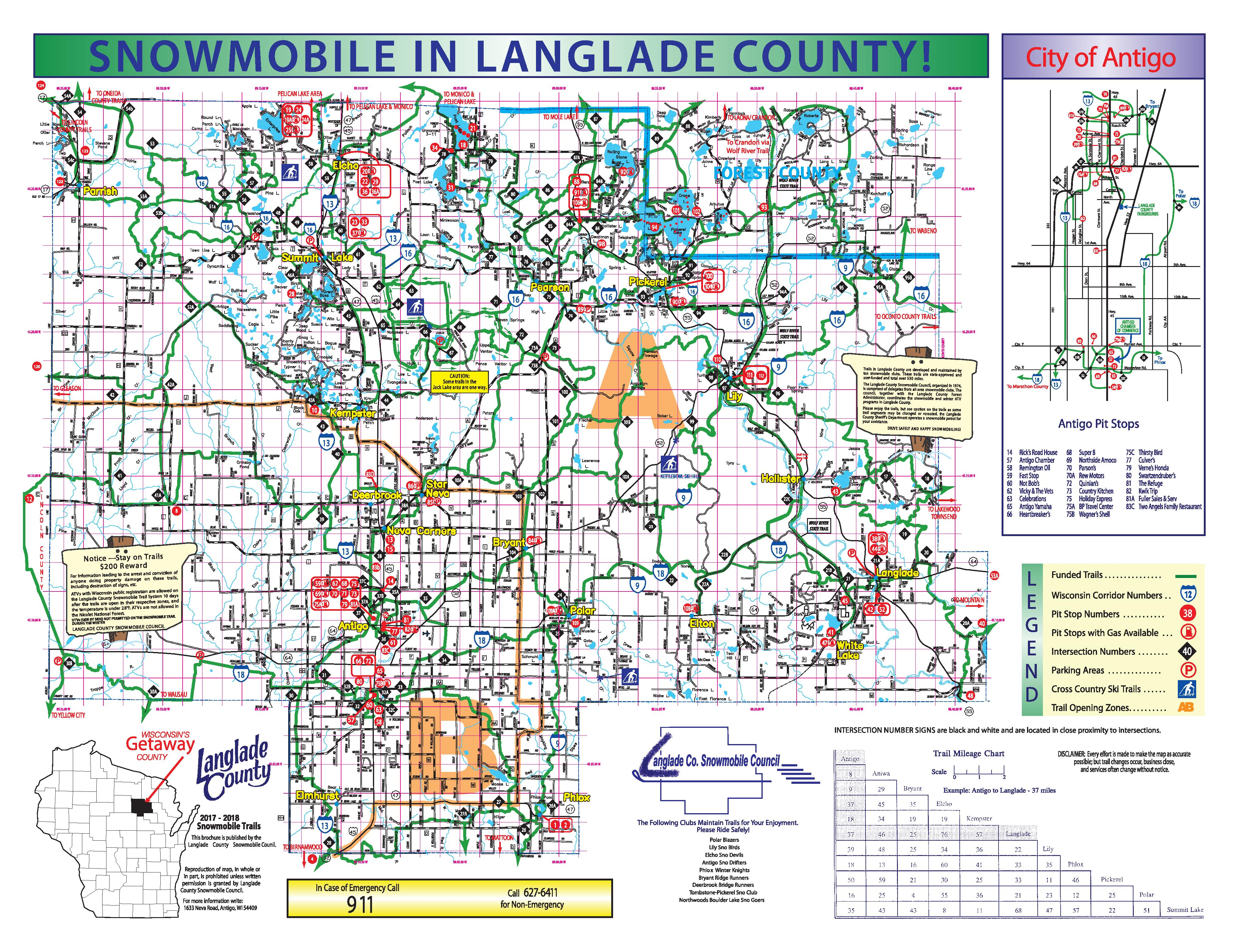 click here to downloadview a langlade county snowmobile map. northern wisconsin tourism recreation attractions  langlade
